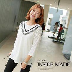 CLICK - Fringed 3/4-Sleeve T-Shirt