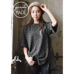 GOROKE - Slit-Hem Floral Pattern T-Shirt