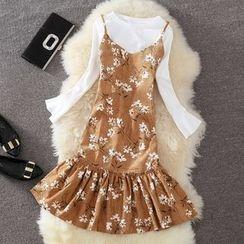 Clementine - 純色長袖T恤 / 碎花細肩帶連衣裙