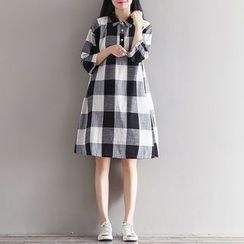 Flore - 3/4-Sleeve Check Dress
