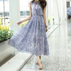Isadora - Set: Print Sleeveless Midi Chiffon Dress + Lace Bandeau
