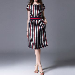 Hazie - Cap Sleeve Striped Midi Dress