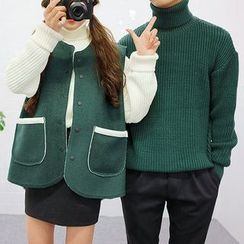 Seoul Homme - Couple Turtle-Neck Rib-Knit Sweater