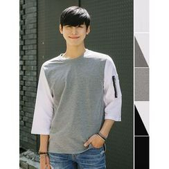STYLEMAN - Color-Block 3/4-Sleeve T-Shirt