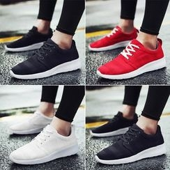 MARTUCCI - Lace-Up Knit Athletic Sneakers