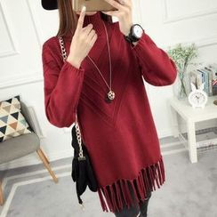 anzoveve - Fringe Hem High Neck Sweater