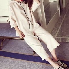 Fashion Street - Set: 3/4 Sleeve Hoodie + Cropped Wide Leg Pants
