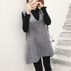 Ranche - V-Neck Knitted Long Vest