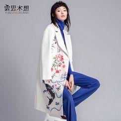 Cloudwood - Floral Print Long Woolen Coat