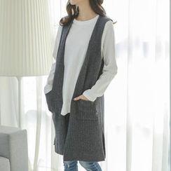 JUSTONE - Wool Blend Rib-Knit Long Vest