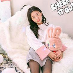 chuu - Mock-Neck Contrast-Cuff Pullover