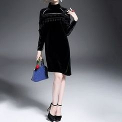 Alaroo - Tasseled Velvet High Neck Long-Sleeve Dress