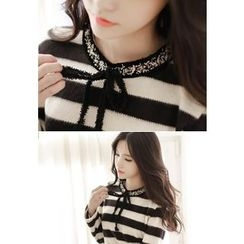 MyFiona - Ribbon-Neck Stripe Knit Top