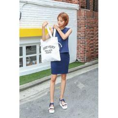 migunstyle - Set: Sleeveless Pocket-Detail Top + Band-Waist Skirt