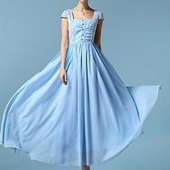 丽贝卡 - 蕾丝拼接连衣长裙