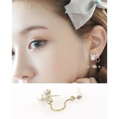 Miss21 Korea - Faux-Pearl Chain Link Earring (Single)
