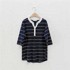 PEPER - Half-Placket Striped T-Shirt