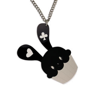 Sweet & Co. - XL Sweet Black Bunny Cupcake of Heart Silver Long Necklace