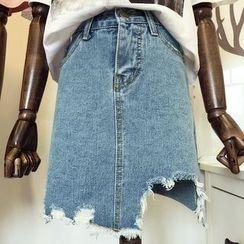 DIYI - Distressed High-Waist A-Line Denim Skirt