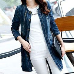 Romantica - Washed Distressed Zip-Accent Denim Coat