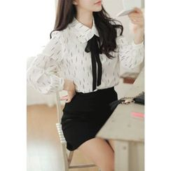 MyFiona - Tie-Front Patterned Blouse