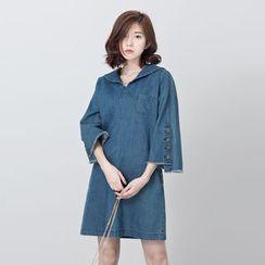 BORAN - 3/4-Sleeve Denim A-line Dress