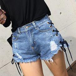 Harmonia - Lacing Detail Distressed Denim Shorts