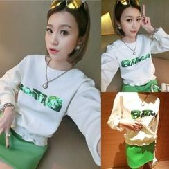 QZ Lady - Set: Sequined Lettering Pullover + Skirt