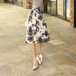 Koo - Floral-Pattern A-Line Midi Skirt