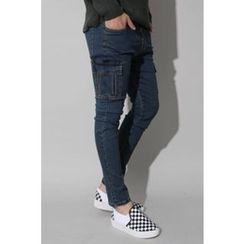 Ohkkage - Drawstring-Waist Cargo-Pocket Jeans