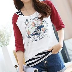 Hanee - Raglan Printed T-Shirt with Striped Tank Top