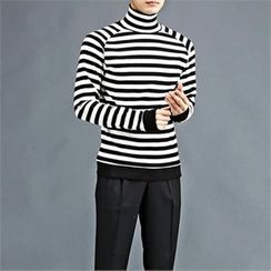 THE COVER - Turtle-Neck Color-Block T-Shirt