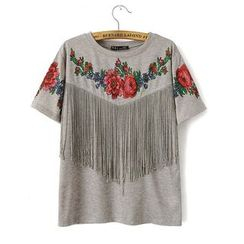 Ainvyi - Floral Print Fringe Trim Short Sleeve T-Shirt