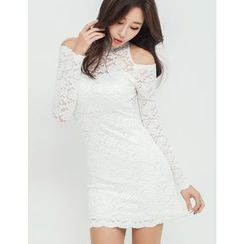 GUMZZI - Cutaway-Sleeve Padded Lace Dress