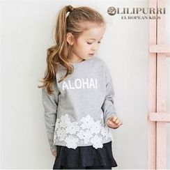 LILIPURRI - Girls Lace-Trim Lettering T-Shirt