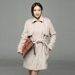 SARAH - Double Breasted Flap Detail Trench Coat