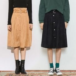 Heynew - Buttoned Faux Suede Skirt
