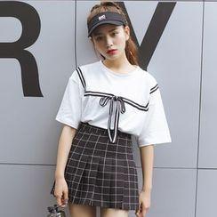 Porta - Sailor Style Ribbon Short-Sleeve T-shirt