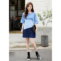 DEEPNY - Elbow-Sleeve Color-Block Denim Dress
