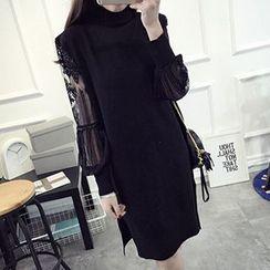 FR - Lace Lantern Sleeve Knit Tunic