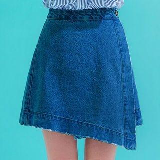 chuu - Diagonal-Hem Denim Mini Wrap Skirt