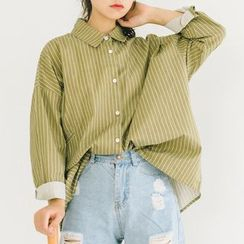 Meimei - Pinstripe Long-Sleeve Collared Jacket