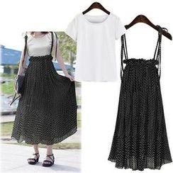 Coronini - Polka Dot Suspender Midi Skirt