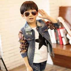 Lullaby - Kids Floral Print Panel Denim Jacket