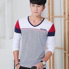 INSO - 撞色条纹V领长袖T恤
