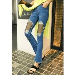 REDOPIN - Mesh-Detail Distressed Boot-Cut Jeans