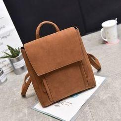 Pandabada - Faux-Leather Flap Backpack