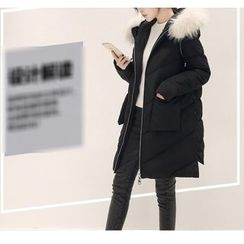 Dream Girl - Furry Hooded Padded Long Jacket
