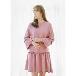 J-ANN - Frill-Trim Pullover Dress