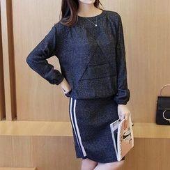 Bubbleknot - Set: Knit Top + Stripe Skirt